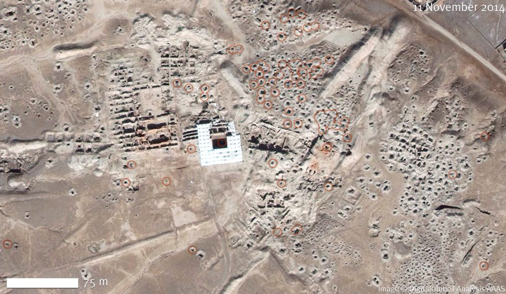 - Tell Hariri Satellite Image from November 2014, with evidence of looting. Image ©DigitalGlobe | U.S. Department of State, NextView License | Analysis AAAS.
