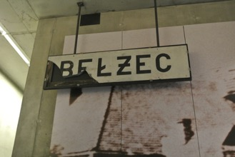 Alison Curry, 2015. Original Bełżec Train Station sign within the museum at Bełżec.