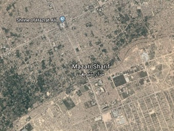 Google Earth Satellite Image of the Shrine of Hazrat Ali, location of Blue Mosque in Mazar-i-Sharif, Afghanistan. Courtesy of Natalie Edwards.